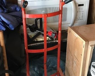Microwave. Hand truck
