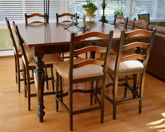 High top table with 8 chairs