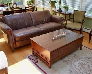 Leather sofa and 2-drawer coffee table