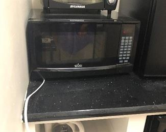Microwave, toaster oven, coffee pot