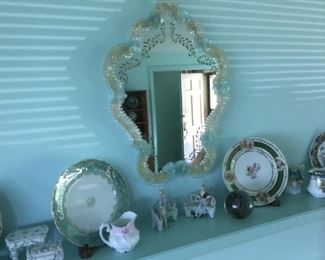 Italian Venetian Wall Mirror (15in x 20in), Porcelain Plates, Figurines.