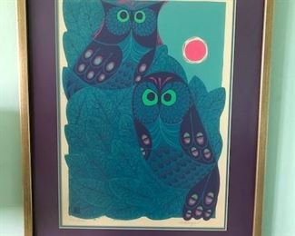 Owls Lithograph by E Baeza, numbered E2.