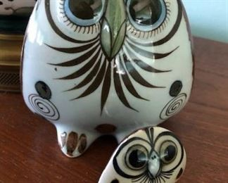 Vintage Ken Edwards Tonala Pottery Owls - Mexico