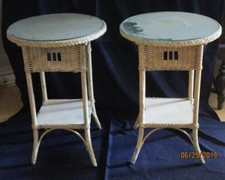Wicker tables with glass top mid 50s