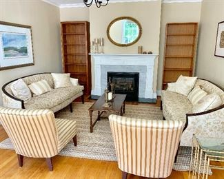 Pair of Fine House sofas and pair of silk pinstripe arm less chairs