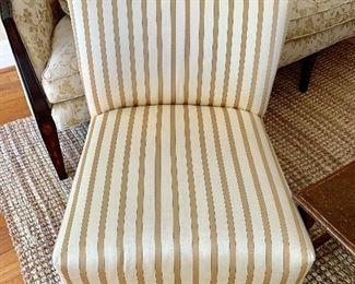 2 silk pinstripe arm less chairs