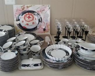Mikasa Set Service for 16 with glasses and serving platters.