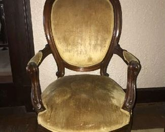19th Century Antique Carved Victorian Salon Parlor Upholstered Armchair.  Good condition.  $150