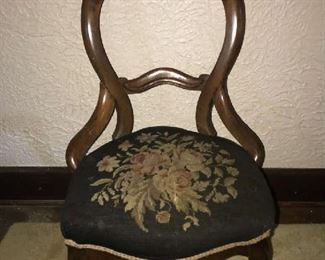 19th Century Needlepoint Boudoir Chair.  Good condition.   $175