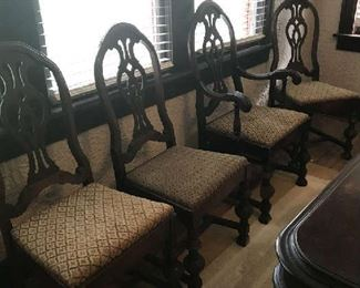 Vintage dining room chairs (6 armless, 2 arm).  Fair condition.  Price negotiable with table.