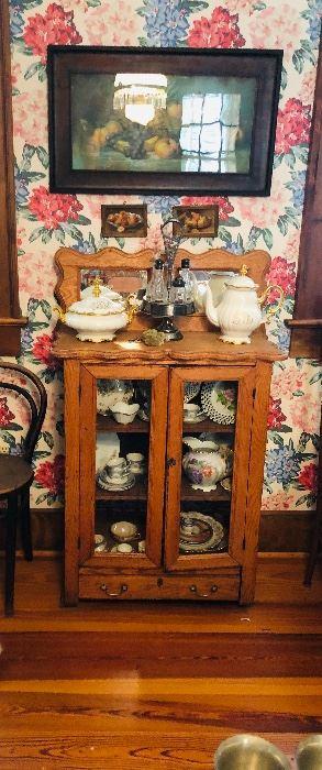 oak victorian display cabinet
