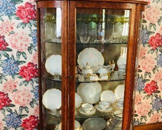 oak bow front mirrored china cabinet with glass shelves