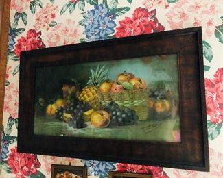 beautiful fruit print in antique frame