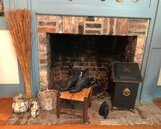 Coal scuttle, sad iron, cane bottom foot stool , white oak baskets, a collection of matchbooks,