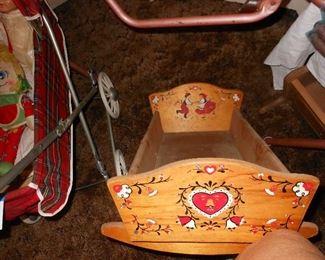 Vintage baby doll rocking bed