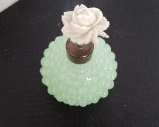 IRice jadeite hobnail antique brass pump with white rose $40