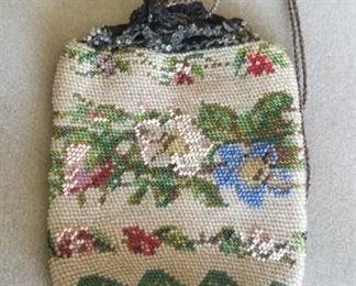 Antique Victorian micro bead draw string purse $125