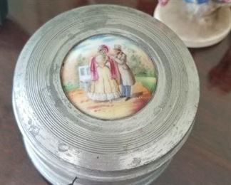 """Antique Aristo Musical Novelties Aluminum Musical compact box plays: """"This is why I Love you"""" $45"""