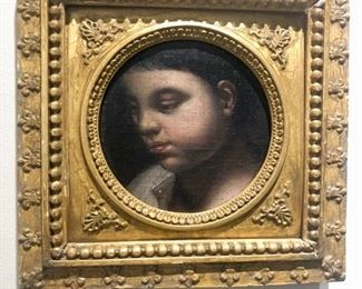 In the 1700's, when people of wealth were hit with hard times, it wasn''t unusual for them to cut up portraits and to sell the pieces of the paintings.  This is an example and it's quite lovely.