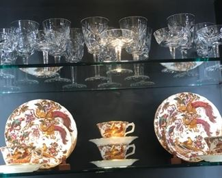 Top shelf is Waterford Crystal and here is additional plates and cups & saucers for a total service of 8 place settings and serving pieces.  I'll update this if that is not correct.