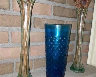 Antique Vases Including Capri Blue Teardrop Vase
