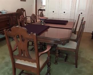 Stunning 1940s Dining Room Table with 8 Chairs, Matching China Cabinet and Sideboard
