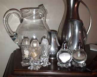 Stainless Steel Pitchers, Crystal Salt & Pepper Shakers