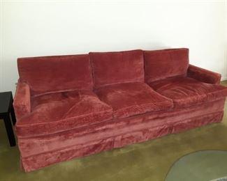 Hickory Chair Company, Down Reddish Velour Velvet Sofa. Super Comfortable.