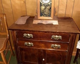 Antique 2 drawer Chest, Clock