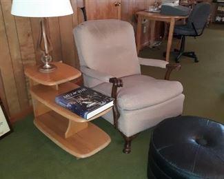 1930's Armchair, Vintage Footstool, Wannabe-Heywood Wakefield three-tier Table