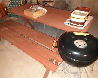 Wooden Picnic Table, Grill