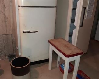 Vintage Refrigerator, Crock, Small Side Table