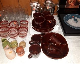 Mark Rust New Old Stock dish set, nesting bowls, to Silver Plate pitchers