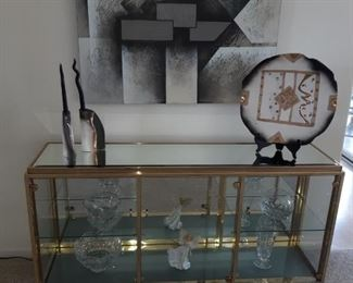 Glass and brass display case, crystal