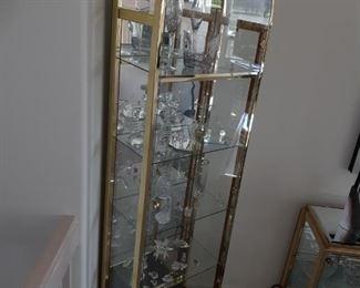 Brass & Glass curio cabinet, Swarovski crystal and more