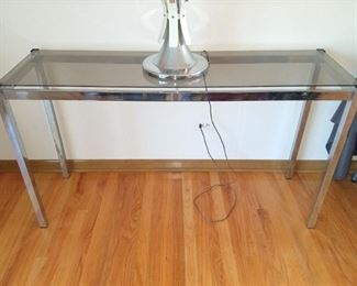 Glass and chrome sofa table