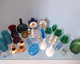 Lots of colored glass items. (including carnival glass--not shown yet)