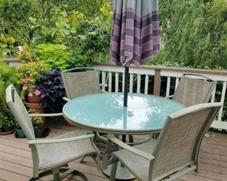 Patio table, chairs, umbrella