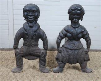 Antique Butler & Mammy Andirons