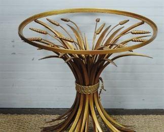 Sheathed Wheat Mid Century  Modern Italian Side Table
