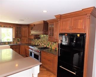 Huge Cherry Kitchen For Sale  W/ Stainless Steel Appliances   In Winnetka Big Enough To make 2 Kitchens ! 15 X 23   8 ft ceilings Crystal Made Cherry Kitchen Cabinets Wolf Stove , Wolf Oven ,  Miele Dishwasher , Granite Counter Tops , Island  Wolf Stainless Steel 48 In 4 Burner With Griddle  And Bbq , Double Ovens , Dual Fuel  Wolf Stainless Steel Island Oven   Stainless Steel Warming Drawer   Miele 24 in Stainless Steel Dishwasher  Heartland 36 Black Refrigerator  Stainless Steel Microwave  Farmers Sink