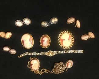cameo earrings , necklaces and braclet