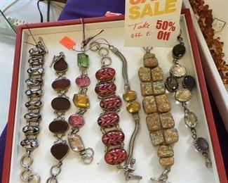 Sterling Silver and Semi -Precious Gemstone Bracelets - 50% OFF