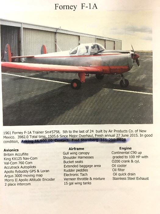 Airplane Forney F-1A, Tools & More in Robstown, TX starts on