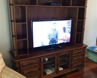 """Very nice entertainment cabinet and smarter TV ( game system not for sale) Cabinet is $300.00  46"""" Samsung"""