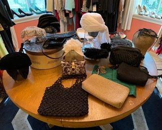Vintage Hats & Handbags, Round Dining Table