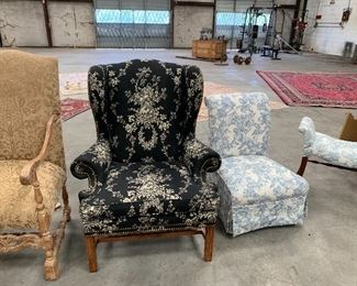 Black paisley wing chair