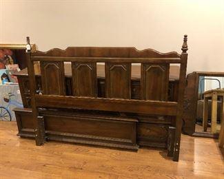 Queen headboard, footboard, rails, frame, triple dresser with mirror
