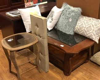 Coffee table, pillows, indoor/outdoor side table