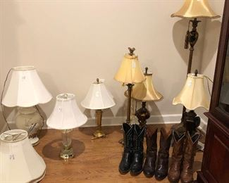 Various size lamps, lampshades, men's boots